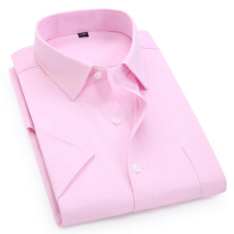 Мужская Повседневная рубашка с короткими рукавами, белая, синяя, розовая, черная, мужская рубашка, обычная посадка, мужские рубашки, 4XL 5XL 6XL 7XL 8XL