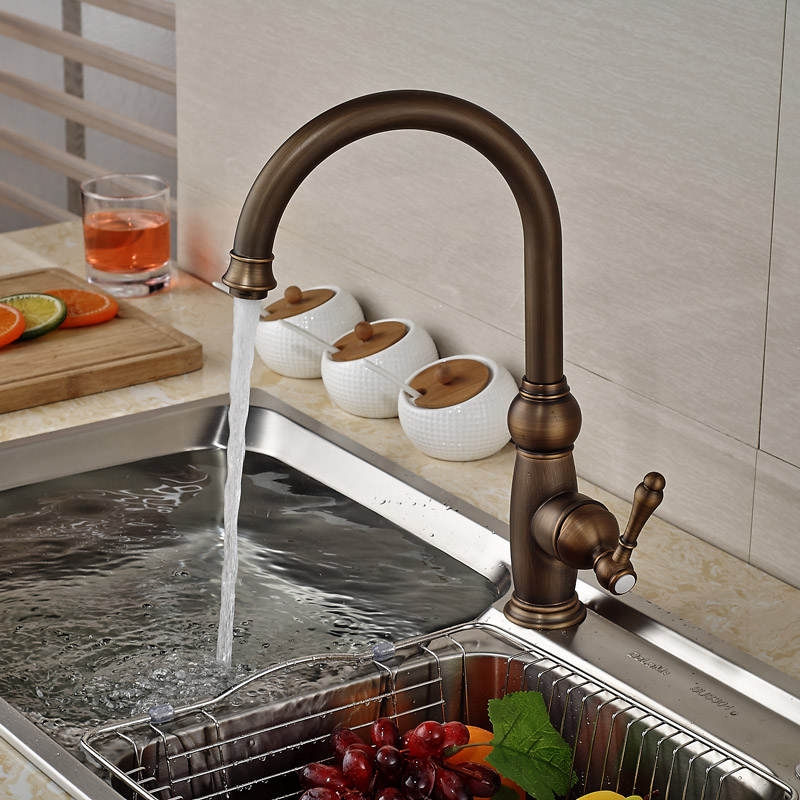 Antique Brass Rotation Kitchen Sink Faucet Single Handle Hot Cold Water Kitchen Mixer tap