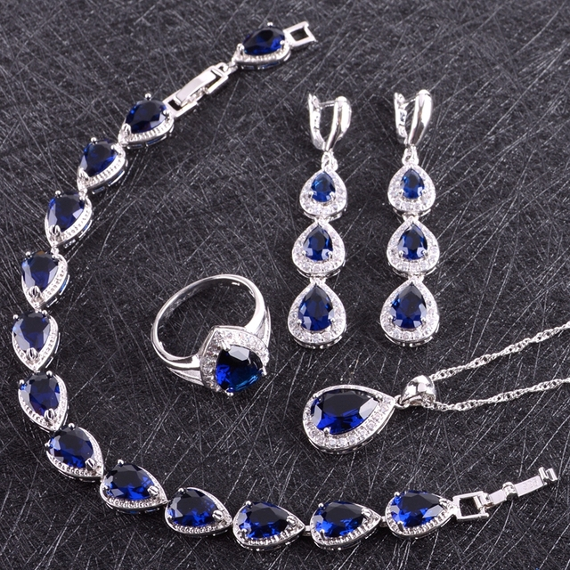 Blue Cubic Zirconia White Rhinestones 925 Sterling Silver Jewelry Sets For Women