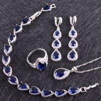 Blue Sapphire White Topaz 925 Sterling Silver Jewelry Sets For Women Earrings Pendant Necklace Rings Bracelet
