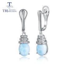 TBJ, простые Стильные серьги с натуральным ларимаром овальной формы 8*10 мм драгоценным камнем, хорошее ювелирное изделие из серебра 925 пробы для девочек, хороший подарок с коробкой