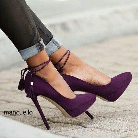 2b6b1916a6d Glamorous Women Purple Suede Thin High Heels Elegant Pointed Toe Tassel  Platform Pumps Fashionable Lace Up Fringe Shoes
