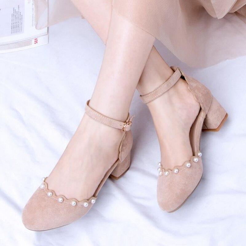 2018 new Pearl Fine belt Buckle Coarse heel Middle heel Grind Beaded Beads pink women's sandals Student sandals korea buckle beads heel covering womens heel sandals