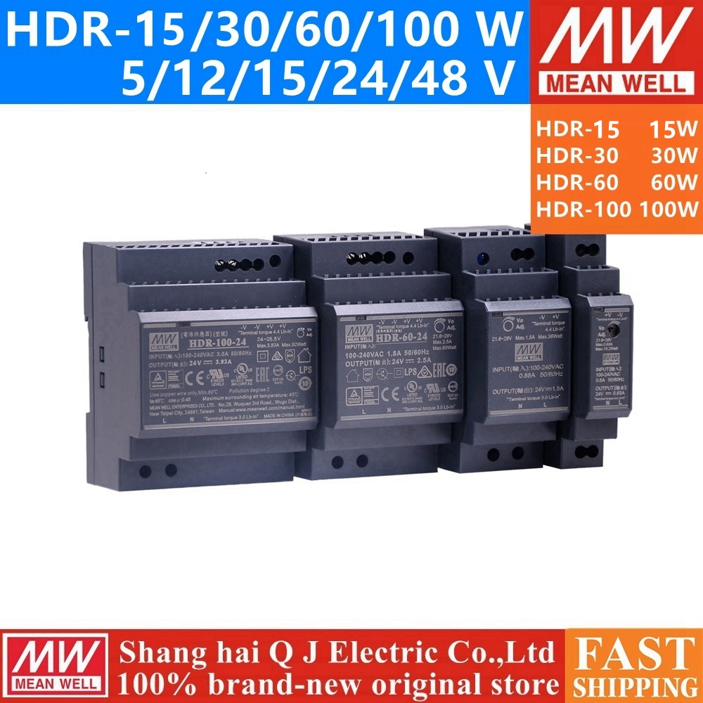 MEAN WELL HDR-15 30 60 100 5V 12V 15V 24V 48 V meanwell HDR-15-30-60-100 W 5 12 15 24 48 V Simple Sortie Industrielle DIN Rail