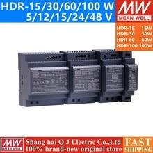 Бренд MEAN WELL представляет HDR-15 30 60 100 5 V 12 V 15 V 24 V 48 V meanwell HDR-15-30-60-100 Вт до 5 лет, 12 предметов в упаковке 15 24 48В одиночный Выход промышленные на din-рейку