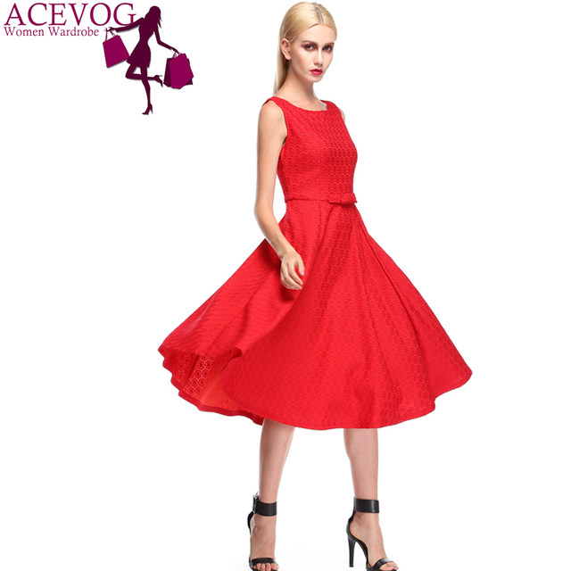 a6d56d14573d Online Shop ACEVOG Brand Elegant Lace Dress Retro Vintage 50 s 60 s ...