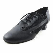 Soft Ballroom Shoes Man Black Professional Net Breathe Lace Up Latin Dance Shoes Salsa Shoes Low