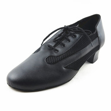 Soft Ballroom Shoes Man Black Professional Net Breathe Lace Up Latin Dance Shoes Salsa Shoes Low Square Heels