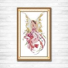 Розовая бабочка фея девушка декор живопись Счетный принт на холсте DMC11CT 14CT наборы для вышивки крестом наборы для рукоделия вышивка