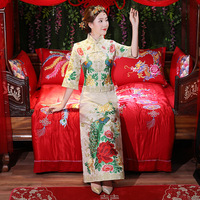 Embroidery Green peacock Cheongsam wedding dress For Overseas Chinese Women Vestido Oriental Collar Sexy Long Qi Pao Party Show