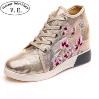 Vintage Women Shoes Floral Embroidered Soft PU Increased Internal Casual Lace Up Flats Platforms Shinny Loafers Shoes For Ladie