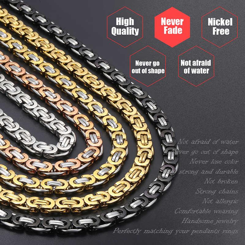 Davieslee naszyjnik dla mężczyzn płaskie bizantyjski Link srebrny czarny złoty łańcuch ze stali nierdzewnej hurtownie biżuteria w stylu Vintage 6/8/11mm LKNM22