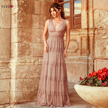 Blush Pink Prom Dresses Long Ever Pretty Sexy A Line V Neck Layers Ruffles Formal Party Gowns For Wedding Vestidos De Fiesta