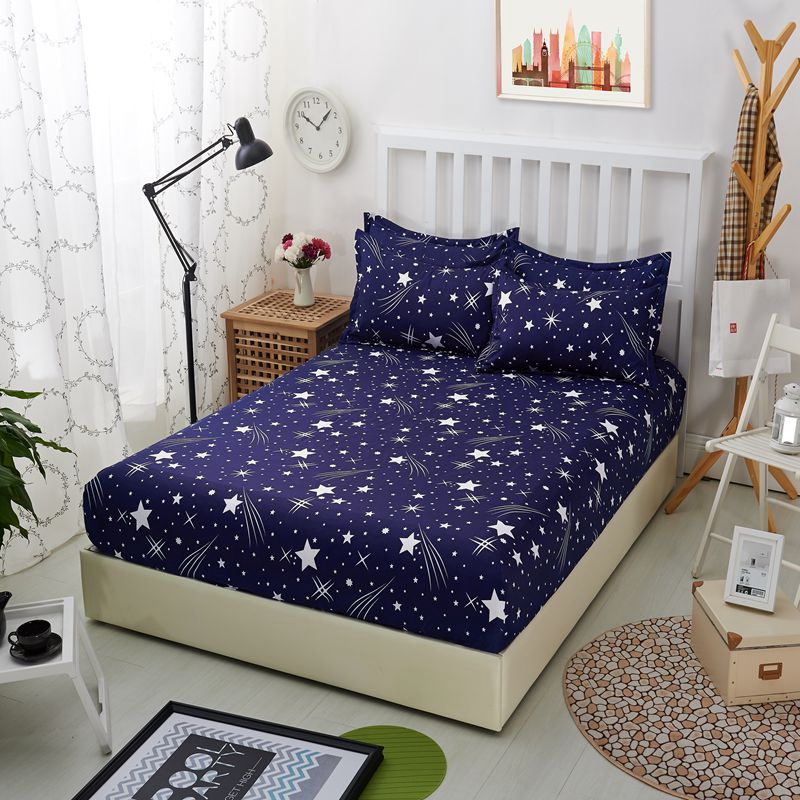 1pcs Polyester Bedsheet Blue Night Sky Printed Bedding Fitted Sheet Mattress Cover Bed Sheet With Elastic Band Bedspreads Sheets in Sheet from Home Garden