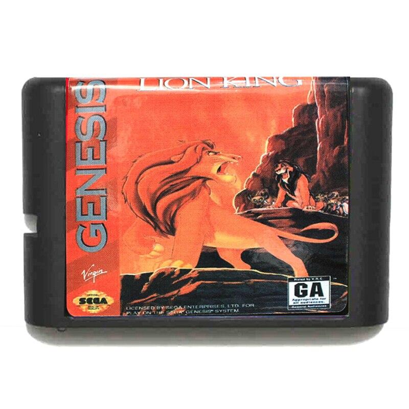 The Lion King 16 bit Sega MD Game Card for Mega Drive for Genesis EU/JP Shell
