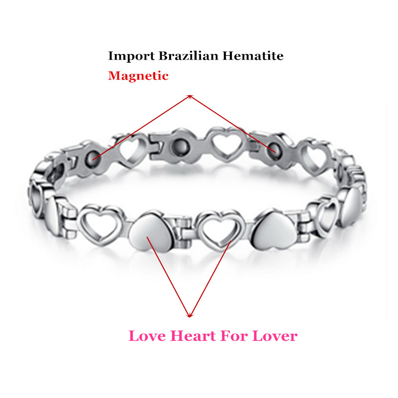 Lover's Bracelets Lover Heart Design 316L Stainless Steel Jewelry Bangles With Magnetic Energy Balls Fashion Accessories-in Hologram Bracelets from Jewelry & Accessories    1