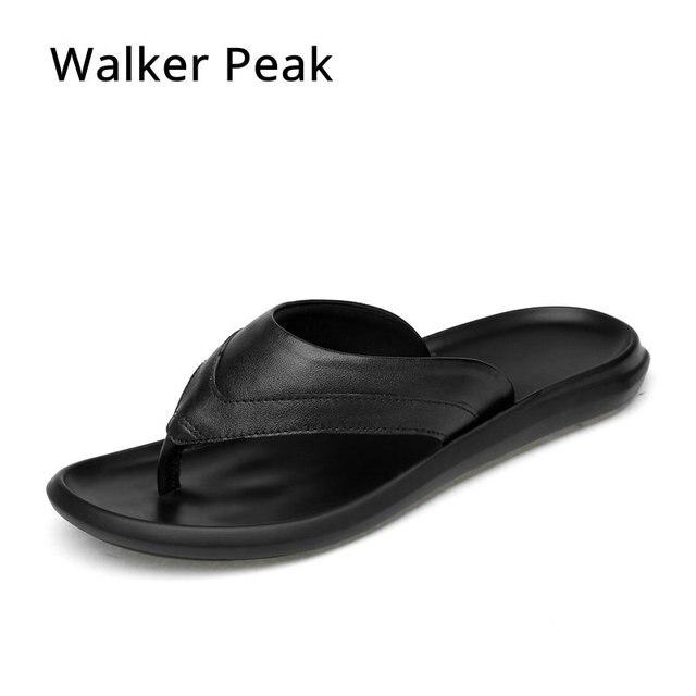 615930cc7cb3d Brand 2018 New Men s Flip Flops Genuine Leather Slippers Summer Fashion Beach  Sandals Shoes Men Shoes