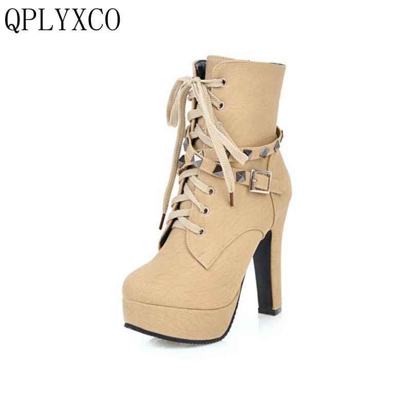 QPLYXCO 2017 Yeni Sıcak satış Büyük ve küçük Boy 30-50 Sonbahar Kış yarım çizmeler ayakkabı kadın kısa çizmeler süper yüksek Topuk s-2