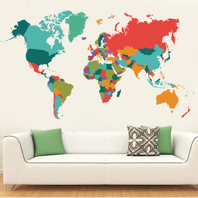 Online shop color world map wall sticker living room bedroom home color world map wall sticker living room bedroom home decor pvc wall sticker import large size self adhesive mural naklejki gumiabroncs Choice Image
