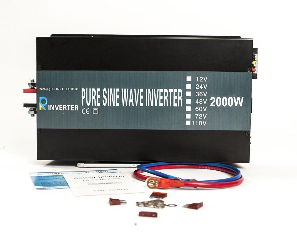 4000W Peak LED Off Grid Pure Sine Wave Solar Power Inverter 2000W 12V/24VDC 120V/240VAC Converter For Refrigerators/Television