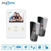 JeaTone Video Door Intercom Door Phone Recording Doorbell Camera Intercom 4 Inch 1200TVL HD Additional Monitor
