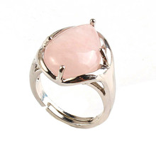UMY New Stylish Silver Plated Rose Quartz Water Drop Resizable Finger Ring Fashion Jewelry