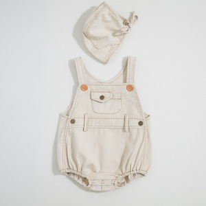 Image 4 - Letnie chłopcy i dziewczęta w 2020 r. Body niemowlęce jasne dżinsy ha yi trójkąt pełzające ubrania, aby wysłać czapki