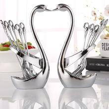 Alloy Swan Fork Tableware Fork Spoon Set Stand Holder Dinnerware Sets Wedding Party Fruit Holder Decoration Dinner Silverware