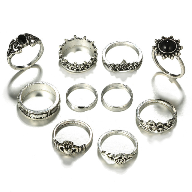 10pcs/Set Bohemia Antique Silver Carved Rings 1