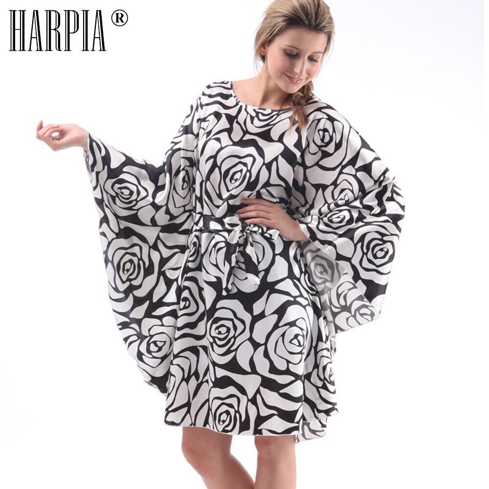 Summer Womens Clothing 2018 Plus Size Robes Pyjamas Vintage Pajama Silk Sleepdress Floral Print Nightgown Bat Sleeve Bath Robe