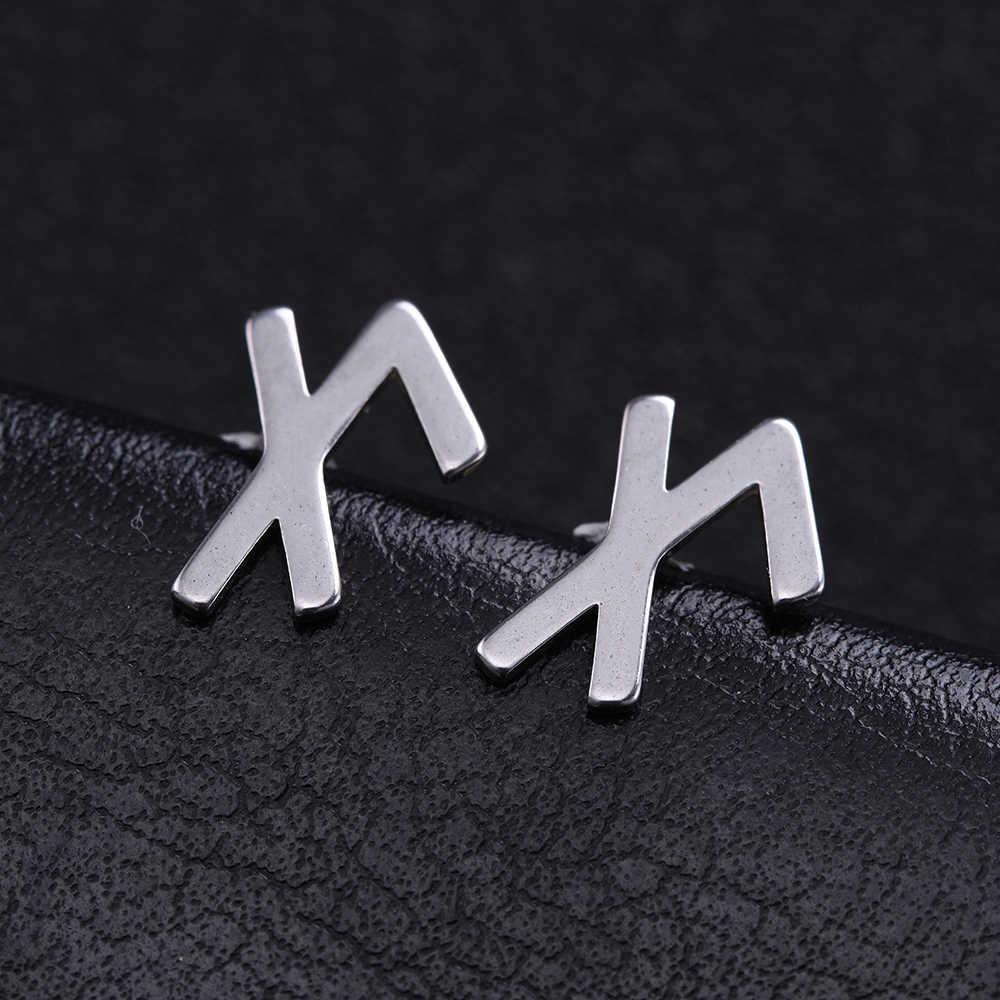 Teamer Nhỏ Đơn Giản Bông Tai Inox Dành Cho Nữ Viking Chữ Rune Bông Tai Đinh Scandinavia Bắc Âu Vintage Trang Sức Aretes