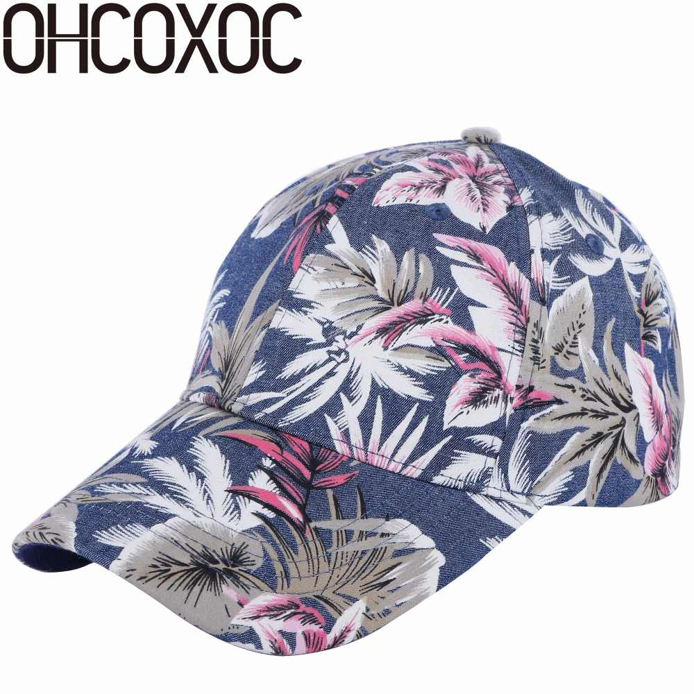 1082ffb6 OHCOXOC 100% cotton high quality men women casual baseball cap hat print  floral style adult size boy girl beauty caps