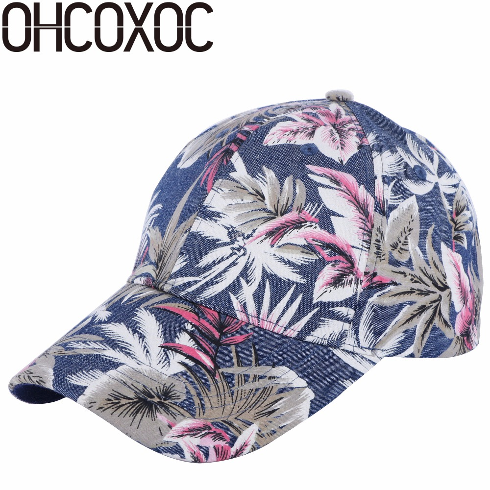OHCOXOC 100% cotton high quality men women casual   baseball     cap   hat print floral style adult size boy girl beauty   caps