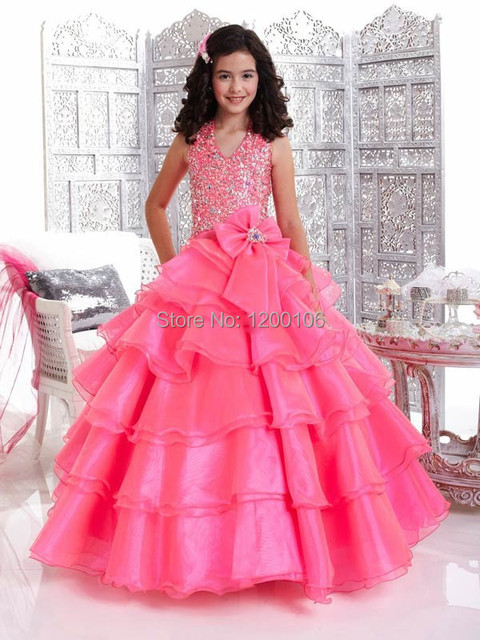 9227fd58ef6 2015 Cupcake Ball Gown Halter Pink Party Girls Pageant Dresses -in ...