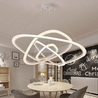 Modern LED Pendant Lights for living Dining room 2/3/4 Circle Wave Rings White Acrylic Supension Lustres Pendant Lamp fixtures