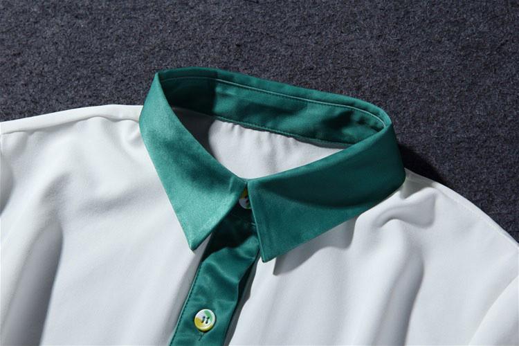 Flower Print Green Skirt White Blouse Suits for Women (7)