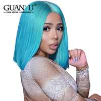 Guanyuhair Blue Short Bob Wigs Pre Plucked Lace Front Wigs Brazilian Remy Hair Natural Hairline Full 130% Density