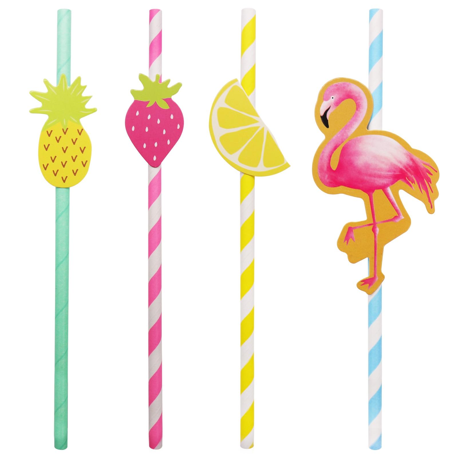 10 teile/beutel Einweg papier stroh hochzeit flamingo,lemon, erdbeere, ananas trinken stroh geburtstag party einweg geschirr