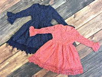 New Baby Girls Fall Winter Children Clothes Coral Solid Color Soft Lace Princess Belt Dress Ruffle