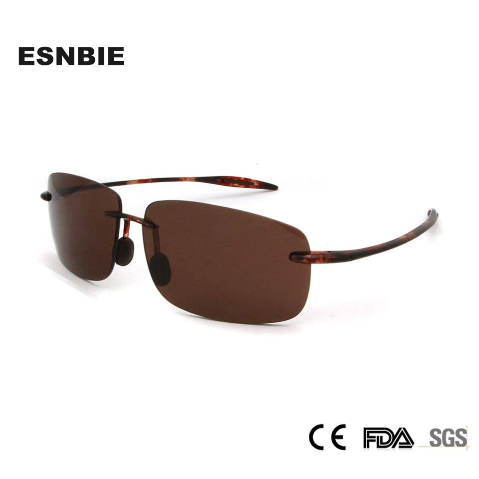 ESNBIE Brand Design TR90 Plastic Titanium Nylon Square Sunglasses Men Women Rimless Sun Glasses Fishing Oculos Gafas Trend 2018