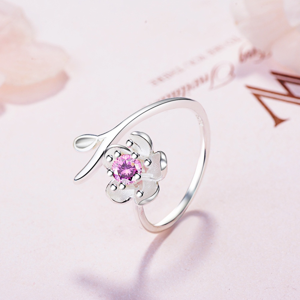 Cherry Blossom Ring, Sterling Boho Floral Ring, Stacking Midi Rings, Flowers Crown Rings, Gifts For Her image