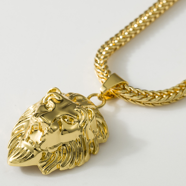 Hiphop gold necklaces pendants men statement unisex collares mujer hiphop gold necklaces pendants men statement unisex collares mujer jewelry mate lion head choker necklace aloadofball