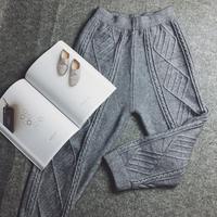 À tricoter femmes de harem pantalon lâche occasionnel élastique taille pantalon plus la taille femmes pantalon