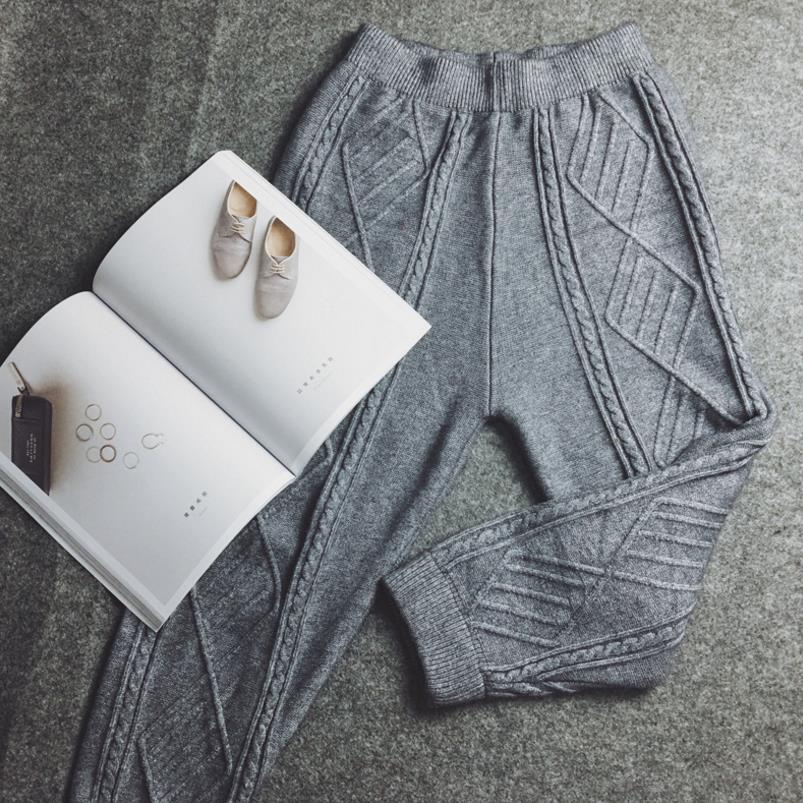 Knitting women's harem pants loose casual elastic waist trousers plus size women pants casual drawstring elastic waist loose harem pants for women