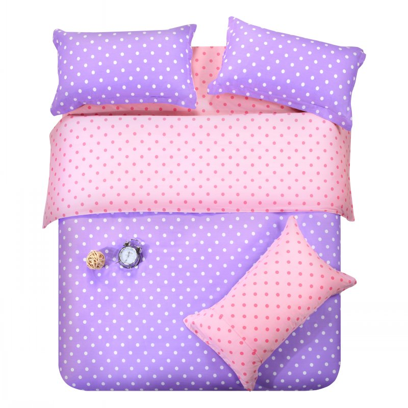 purple pink dots bedding set polka dot full queen size double quilt duvet cover cotton bed. Black Bedroom Furniture Sets. Home Design Ideas