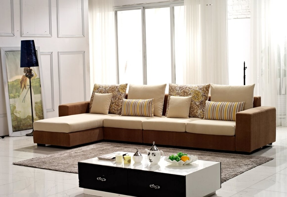 Sofa modern stoff  Modern brown washable velvet fabric corner sofa set living room ...