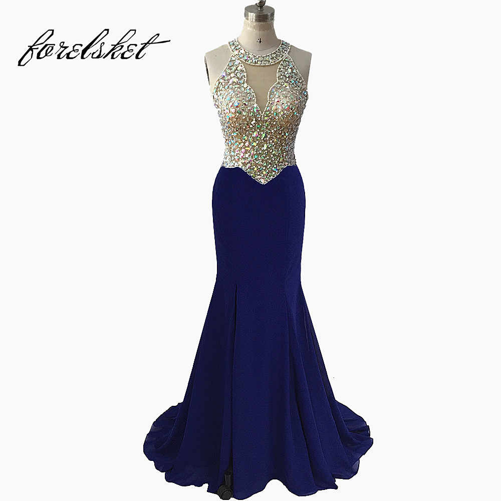 e537d7ea26 Sexy Royal Blue Mermaid Prom Dresses 2019 Beaded Long Formal Evening Party  Dresses Deep V Neck