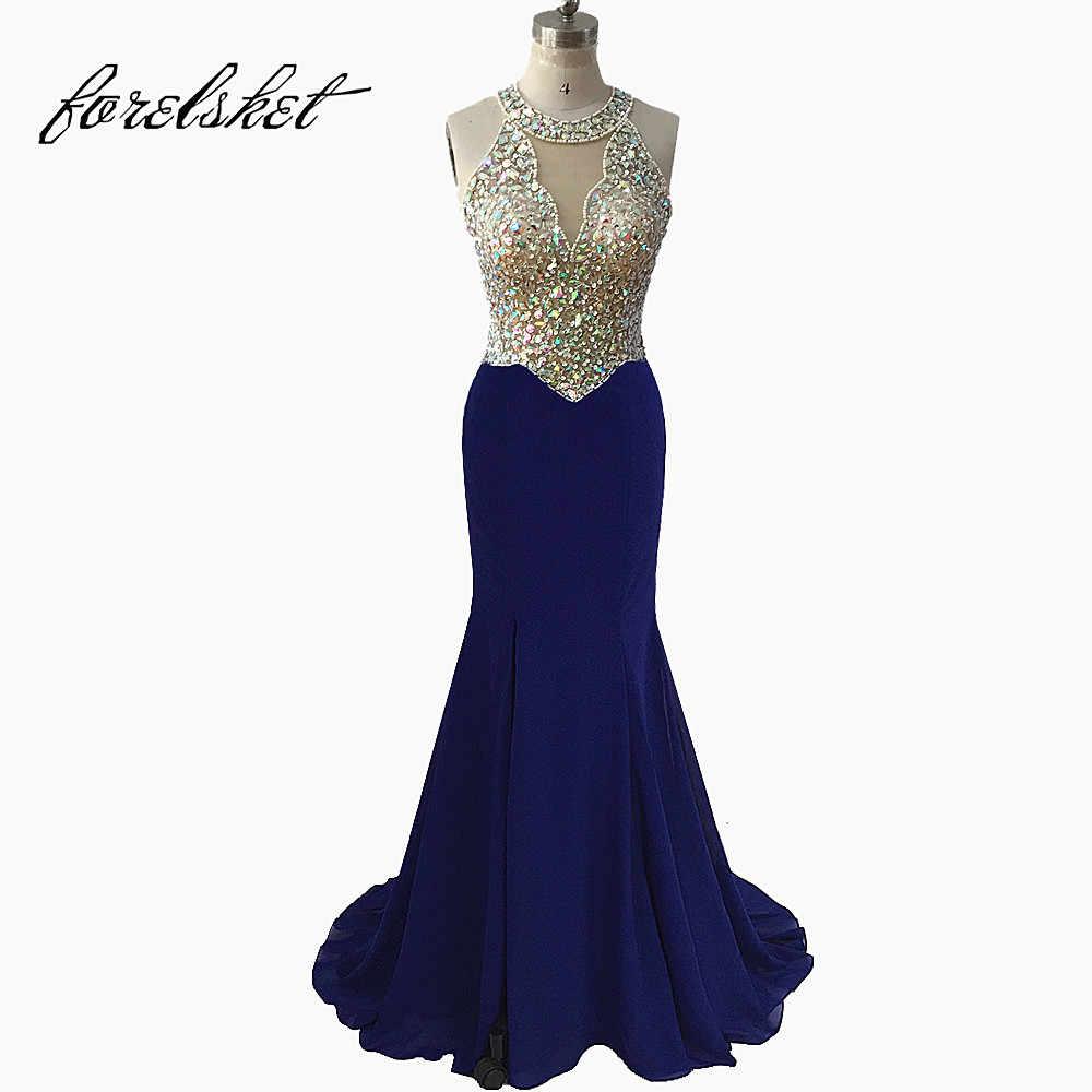 6f2a900faadd Sexy Royal Blue Mermaid Prom Dresses 2019 Beaded Long Formal Evening Party  Dresses Deep V Neck