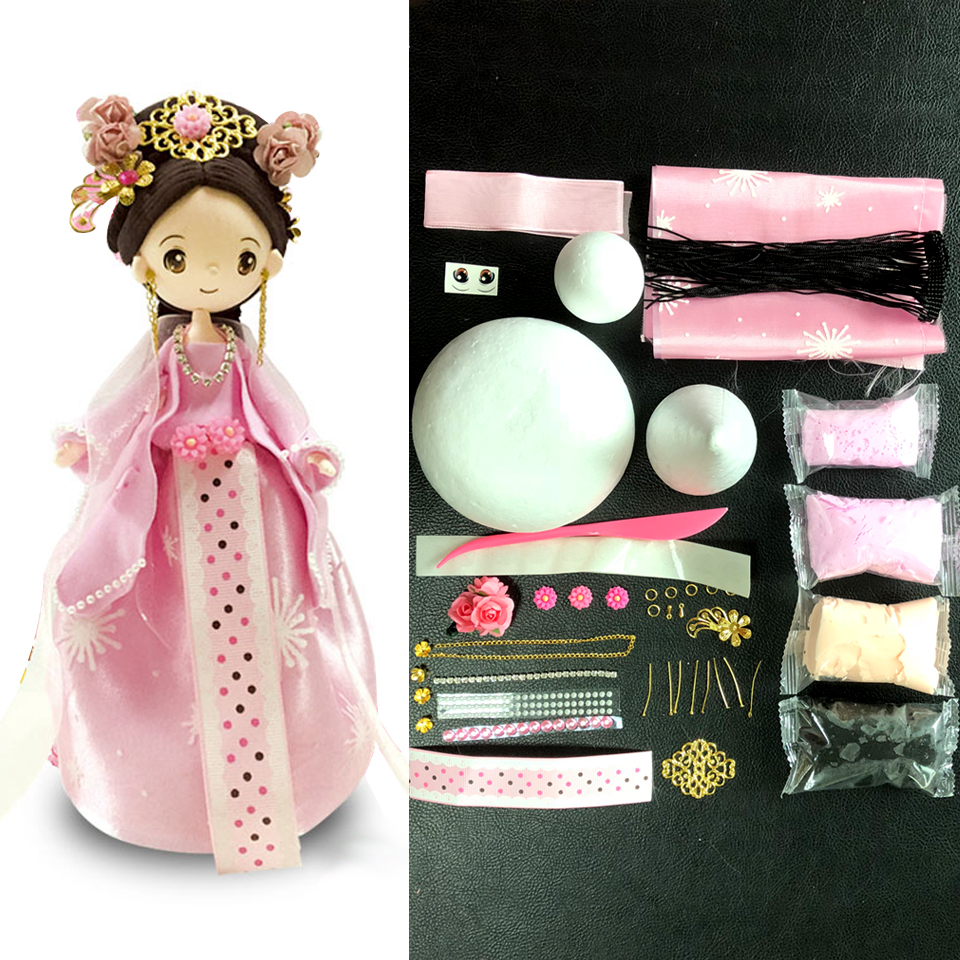 DOLLRYGA Slime Doll Set DIY Clay Chinese Traditional Ethnic Doll with Dress and Headwear Handwork  Birthday Toys For Girls