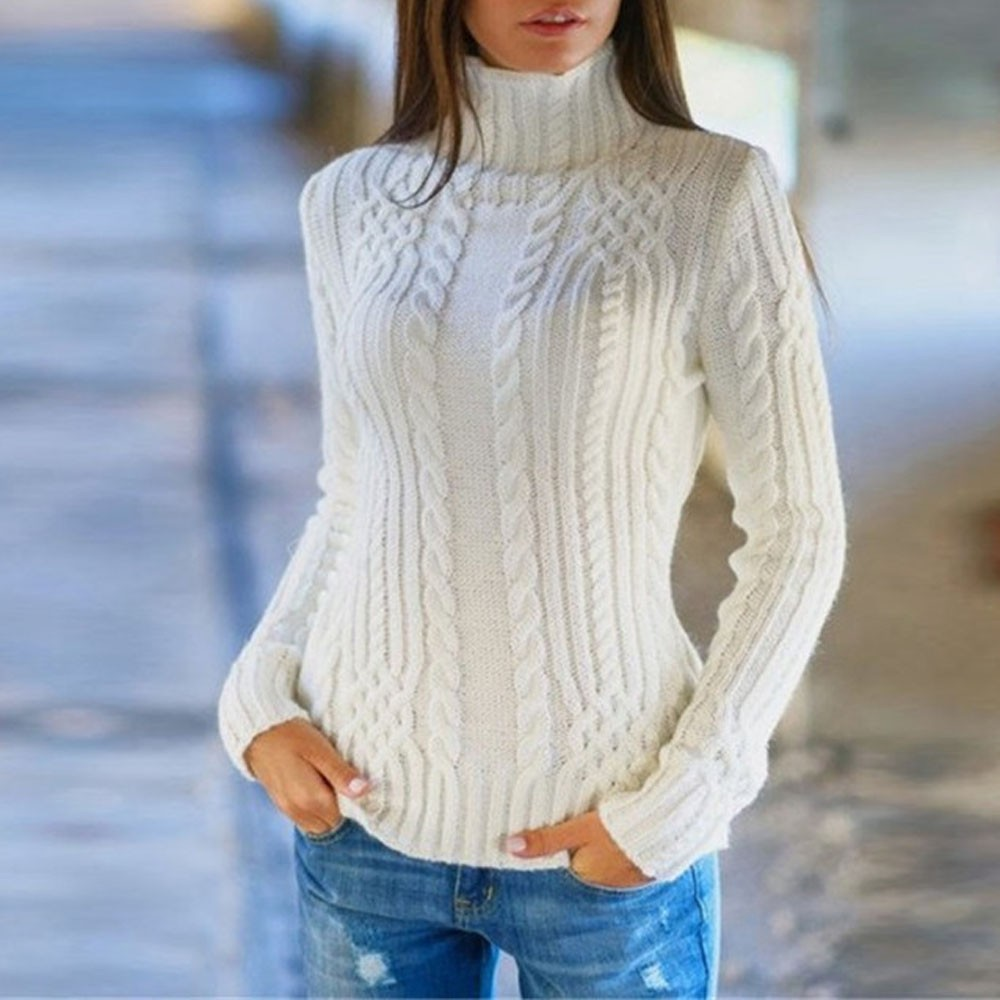 Pullover Sweater Blouse Tops Knitted Jumper Long-Sleeve High-Collar Dames Womens New